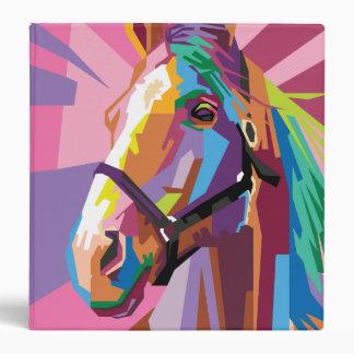 Colorful Pop Art Horse Portrait Vinyl Binders