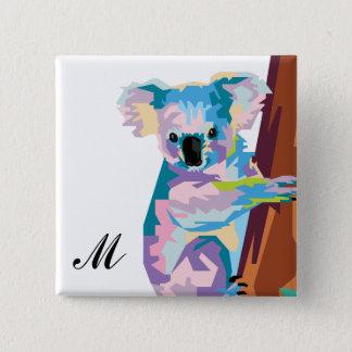 Colorful Pop Art Koala Monogrammed 2 Inch Square Button