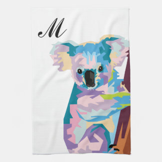 Colorful Pop Art Koala Monogrammed Kitchen Towel