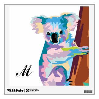 Colorful Pop Art Koala Monogrammed Wall Sticker