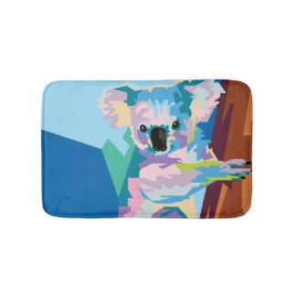Colorful Pop Art Koala Portrait Bath Mat