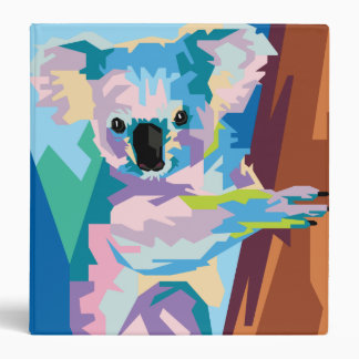 Colorful Pop Art Koala Portrait Binders