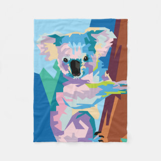 Colorful Pop Art Koala Portrait Fleece Blanket