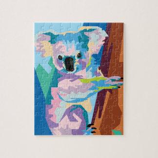 Colorful Pop Art Koala Portrait Jigsaw Puzzle