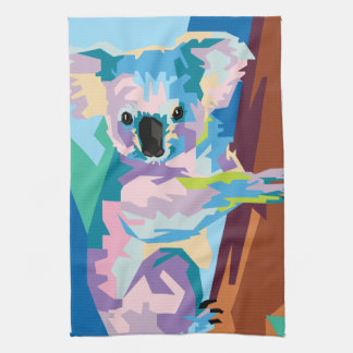 Colorful Pop Art Koala Portrait Kitchen Towel
