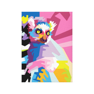 Colorful Pop Art Lemur Portrait Canvas Print