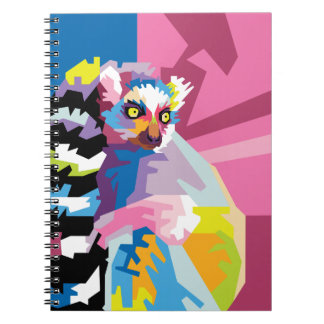 Colorful Pop Art Lemur Portrait Notebook