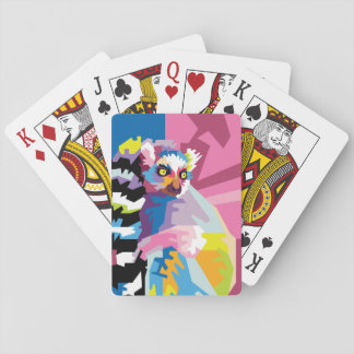 Colorful Pop Art Lemur Portrait Playing Cards