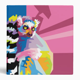 Colorful Pop Art Lemur Portrait Vinyl Binder