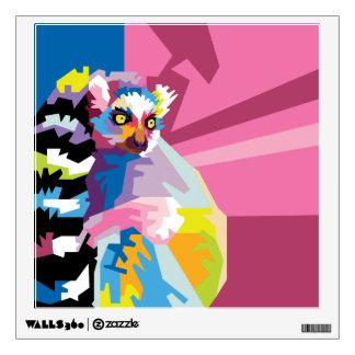 Colorful Pop Art Lemur Portrait Wall Decal