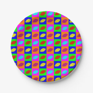 Colorful pop art lipstick kiss 7 inch paper plate