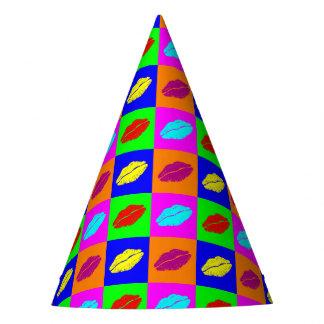 Colorful pop art lipstick kiss party hat
