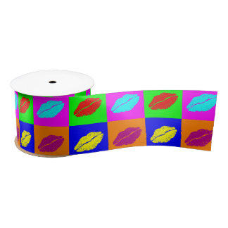 Colorful pop art lipstick kiss satin ribbon