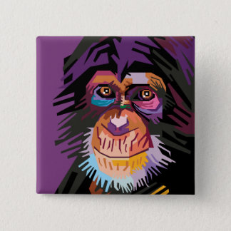 Colorful Pop Art Monkey Portrait 2 Inch Square Button