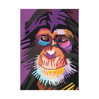 Colorful Pop Art Monkey Portrait Canvas Print