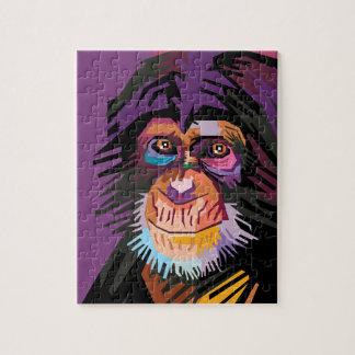 Colorful Pop Art Monkey Portrait Jigsaw Puzzle