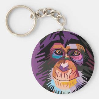 Colorful Pop Art Monkey Portrait Keychain