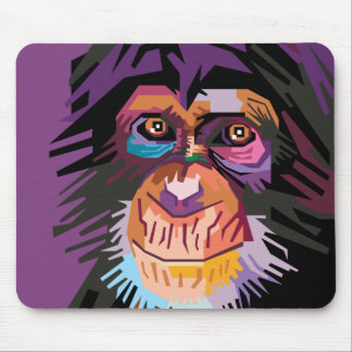 Colorful Pop Art Monkey Portrait Mouse Pad
