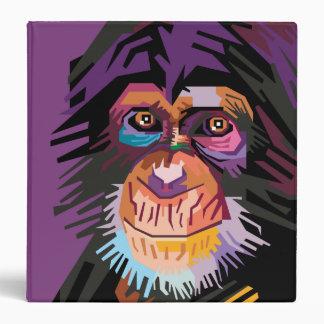 Colorful Pop Art Monkey Portrait Vinyl Binder