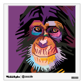 Colorful Pop Art Monkey Portrait Wall Sticker