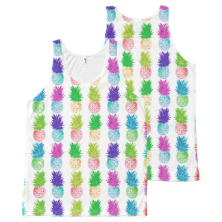 Colorful pop art painting pineapple pattern All-Over-Print tank top