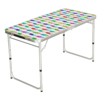 Colorful pop art painting pineapple pattern beer pong table