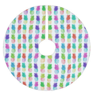Colorful pop art painting pineapple pattern brushed polyester tree skirt
