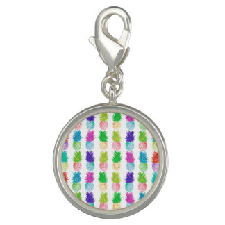 Colorful pop art painting pineapple pattern charms