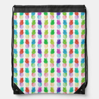 Colorful pop art painting pineapple pattern drawstring bag