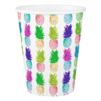 Colorful pop art painting pineapple pattern paper cup