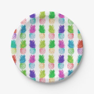 Colorful pop art painting pineapple pattern paper plate