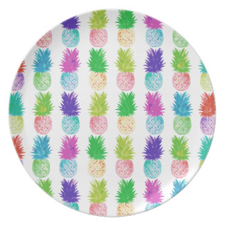 Colorful pop art painting pineapple pattern plate