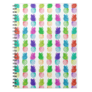 Colorful pop art painting pineapple pattern spiral notebook