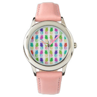 Colorful pop art painting pineapple pattern watch