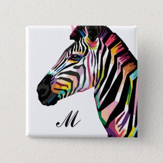 Colorful Pop Art Zebra Monogrammed 2 Inch Square Button