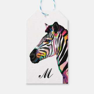 Colorful Pop Art Zebra Monogrammed Gift Tags