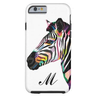 Colorful Pop Art Zebra Monogrammed Tough iPhone 6 Case