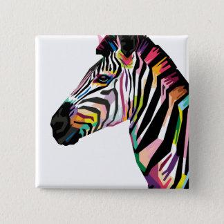 Colorful Pop Art Zebra on White Background 2 Inch Square Button