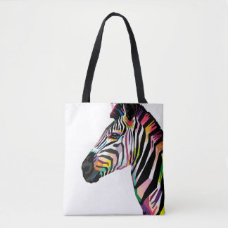 Colorful Pop Art Zebra on White Background Tote Bag
