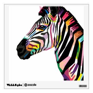 Colorful Pop Art Zebra on White Background Wall Sticker