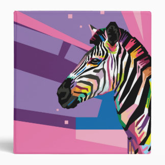 Colorful Pop Art Zebra Portrait 3 Ring Binder