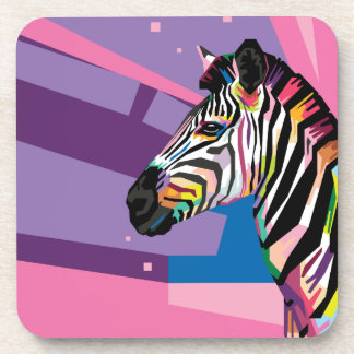 Colorful Pop Art Zebra Portrait Coaster