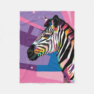 Colorful Pop Art Zebra Portrait Fleece Blanket