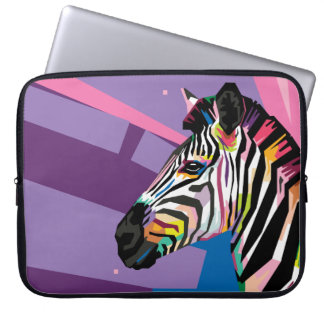 Colorful Pop Art Zebra Portrait Laptop Sleeve