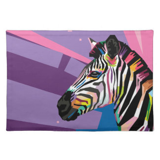 Colorful Pop Art Zebra Portrait Placemat
