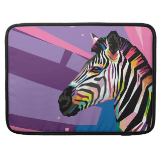 Colorful Pop Art Zebra Portrait Sleeve For MacBook Pro