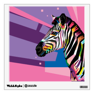 Colorful Pop Art Zebra Portrait Wall Sticker