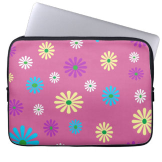 Colorful popart floral pattern laptop sleeve