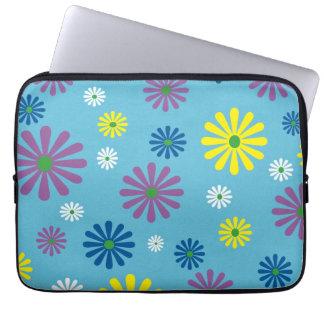 Colorful popart flower pattern laptop sleeve