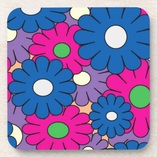 Colorful popart flowers pattern beverage coasters